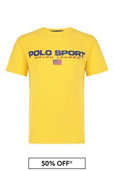 Boys Yellow Cotton Polo Sport T-Shirt