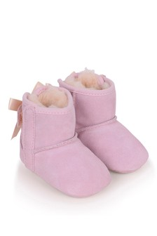 Baby Girls Pink Suede Jesse Bow Pre Walker Boots