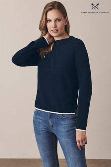 Crew Clothing Blue Heritage Anchor Cable Knit Jumper