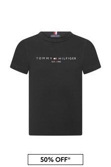 Tommy Hilfiger Boys Black Organic Cotton Essential T-Shirt