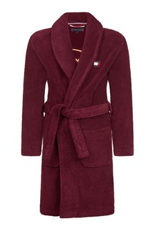 Red Organic Cotton Towelling Bathrobe