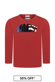 Girls Red Organic Cotton Flip Sequins T-Shirt