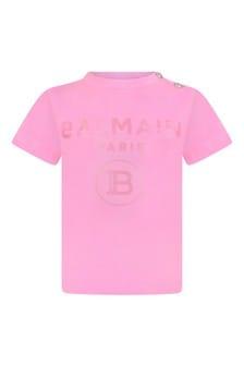 Balmain Baby Girls Pink Cotton Logo Print T-Shirt