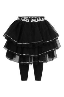 Balmain Baby Girls Black Tulle Skirt With Leggings