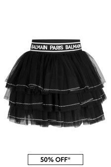 Girls Black Diamanté Tulle Skirt
