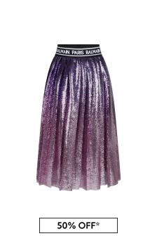 Girls Pink Sequin Pleated Skirt
