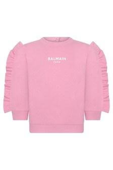 Balmain Baby Girls Pink Cotton Ruffle Sweater