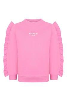 Girls Pink Cotton Ruffle Sweater