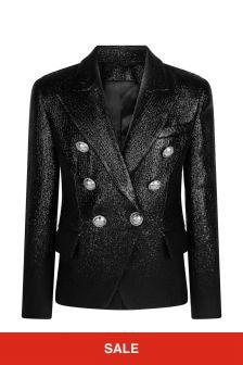 Balmain Girls Black Wool Blazer