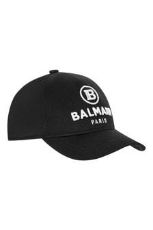 Boys Black Cotton Logo Cap