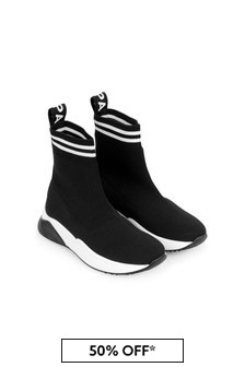 Kids Black & White Sock Trainers