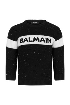 Balmain Baby Girls Black Wool Knitted Jumper