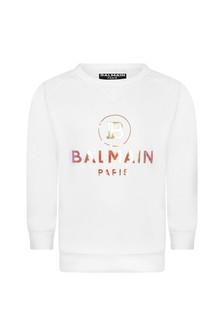 Boys White Cotton Logo Print Sweater