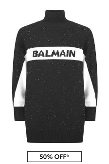 Balmain Girls Black Wool Knitted Dress