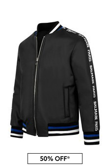 Boys Black Logo Bomber Jacket
