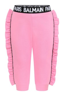 Baby Girls Pink Cotton Ruffle Joggers