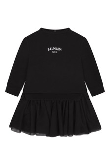 Baby Girls Black Cotton & Tulle Dress