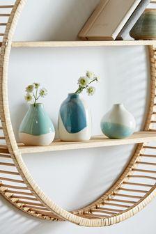 Set of 3 Blue Small Bud Ceramic Vases