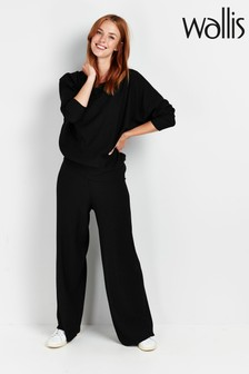 Wallis Black Wide Leg Jersey Trousers