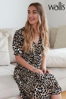 Wallis Cream Stone Animal Print Midi Dress