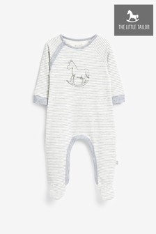 The Little Tailor Cream Stripe Rocking Horse Sleepsuit