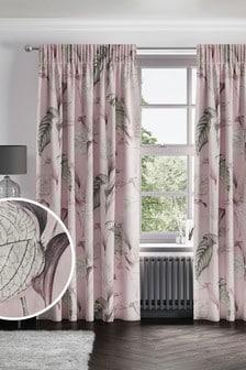Pink Eden Floral Print Pencil Pleat Curtains