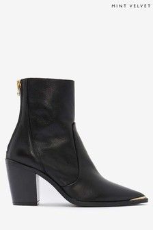 Mint Velvet Black Amy Leather Ankle Boots