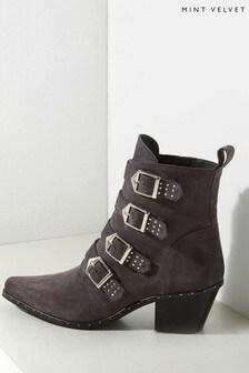 Mint Velvet Green Lou Grey Suede Cowboy Boots