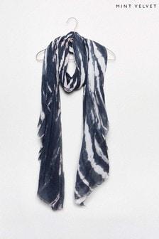 Mint Velvet Blue Tie Dye Printed Scarf