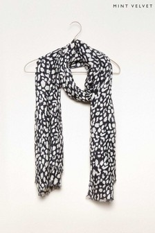 Mint Velvet Black Tara Animal Print Scarf