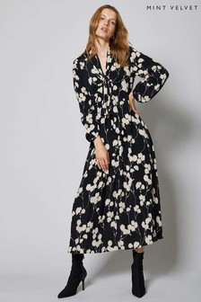 Mint Velvet Black Abi Floral Print Midi Dress