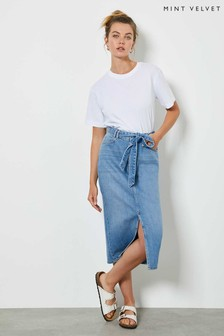 Mint Velvet Indigo Denim Midi Skirt