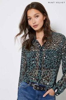Mint Velvet Khaki Salma Animal Blouse