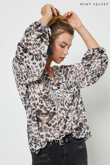 Mint Velvet Cream Amber Animal Print Boho Blouse