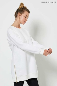 Mint Velvet Off-White Long Zip Sweatshirt