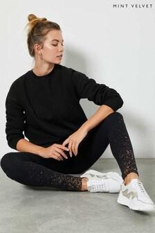 Mint Velvet Black Foil Splatter Leggings
