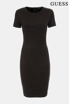 Guess Black Rhoda Jacquard Logo Dress