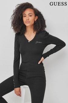 Guess Black Carole V-Neck Logo Jumper