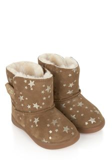 Girls Chestnut Keelan Stars Boots