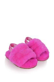 Girls Grey Fluff Yeah Slides