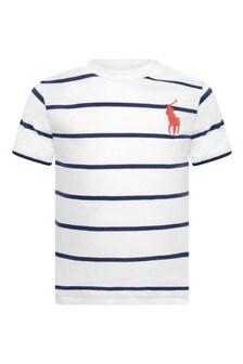 Baby Boys White Striped Cotton T-Shirt