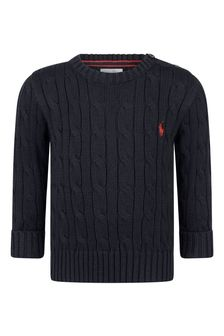 Baby Boys Navy Cotton Cable Knit Sweater
