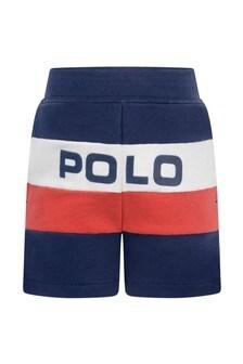 Baby Boys Navy Cotton Polo Shorts
