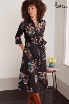 Boden Black Isodora Midi Shirt Dress