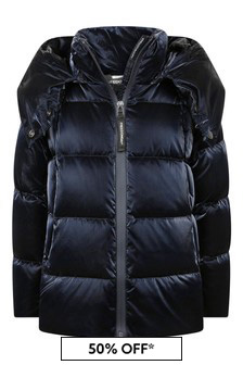 Girls Black Down Padded Hooded Coat
