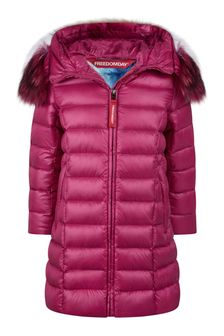 Freedom Day Girls Fuchsia Down Padded Coat With Faux Fur Trim Hood