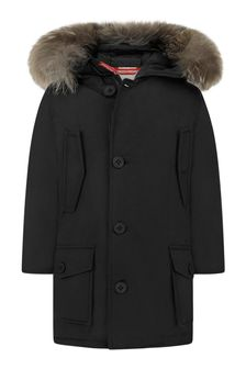 Boys Black Down Padded Coat