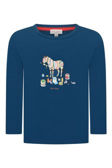 Paul Smith Junior Boys Blue Cotton Zebra T-Shirt