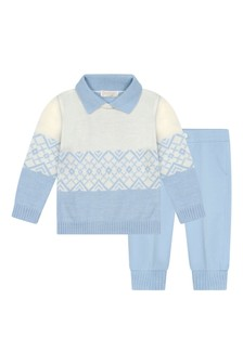 Boys Blue Wool Knitted Sweater Set
