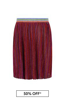 Girls Red Glittery Pleated Skirt